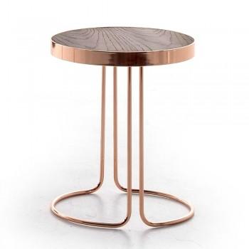 Cora Side Table, Coppered Chrome Metal Base, Heat-Treated Dark Oak Wood Top