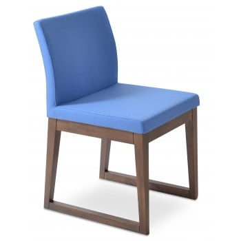 Aria Sled Wood Dininng Chair, Solid Beech Walnut Finish, Sky Blue Camira Wool by SohoConcept Furniture