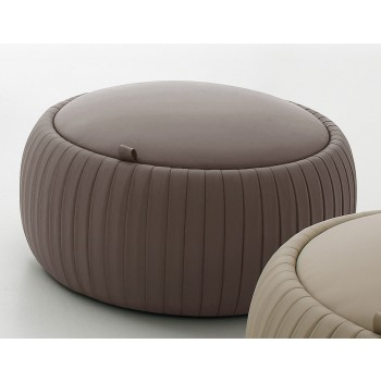 Plisse Small Pouf, Mud Eco-Leather