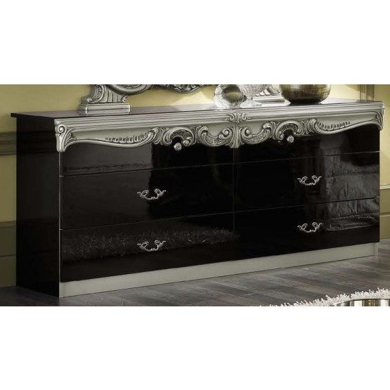 Barocco Double Dresser, Black + Silver photo