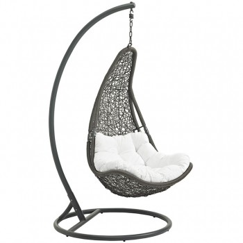 Abate Outdoor Patio Swing Chair With Stand, Gray, White by Modway