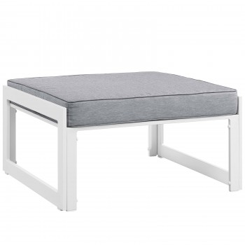 Fortuna Outdoor Patio Ottoman, White, Gray by Modway