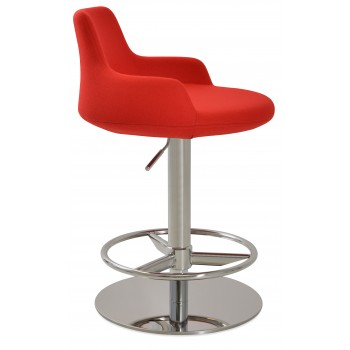 Dervish Piston Stool, Red Camira Wool, Full Foot Rest by SohoConcept Furniture