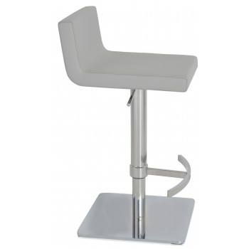 Dallas Piston Stool, T-Foot Rest, Chrome, Light Grey Leatherette, Square Base by SohoConcept Furniture