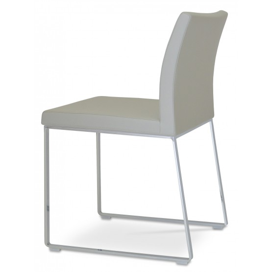 Aria Sled Dining Chair, Light Grey Leatherette photo
