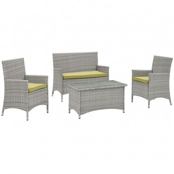Bridge 4 Piece Outdoor Patio Patio Conversation Set, Light Gray, Peridot by Modway