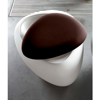 Ios Pouf, White Polyethylene Base, Dark Brown Orchidea Fabric