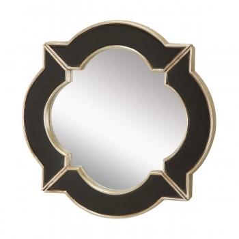 Lilliput Mirror In Black With Hand Rubbed Silver Edging