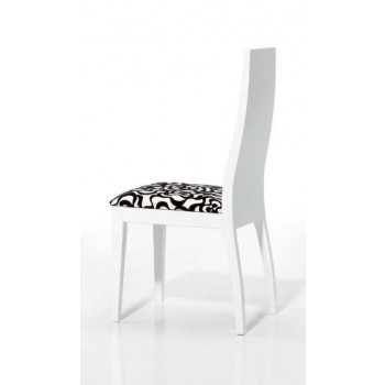 4015 Dining Chair, White Base, White + Black Upholstery