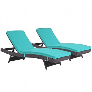 Convene Chaise Outdoor Patio, Set of 2, Espresso, Turquoise by Modway