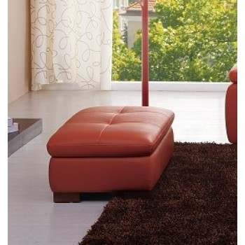 625 Italian Leather Ottoman, Pumpkin by J&M Furniture