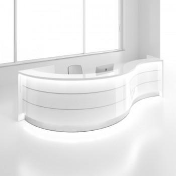 Valde LAV07L Reception Desk, High Gloss White