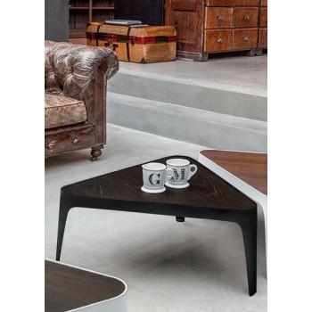 Adele Coffee Table, Matt Black Metal Base, Heat-Treated Dark Oak Wood Top