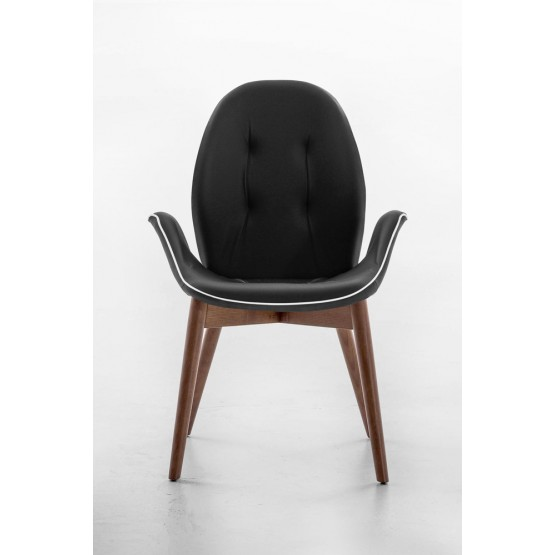 Sorrento Dining Arm Chair, Canaletto Walnut Wood Base, Black Eco-Leather Upholstery, White Сreasing photo