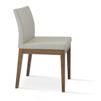 Aria Wood Dininng Chair, Solid Beech Walnut Color, Bone Leatherette by SohoConcept Furniture