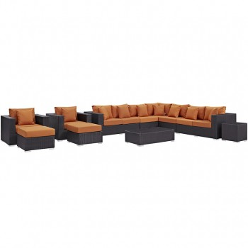 Convene 11 Piece Outdoor Patio Sectional Set, Espresso, Orange by Modway