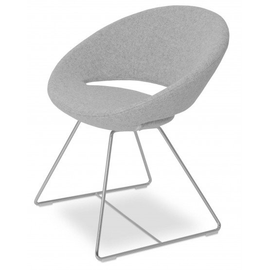 Crescent Wire Chair, Chrome, Silver Camira Wool, Large Seat photo