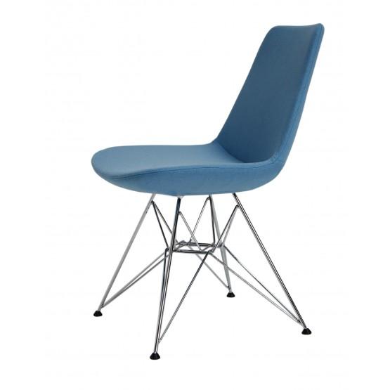 Eiffel Tower Chair, Chrome, Sky Blue Camira Wool photo