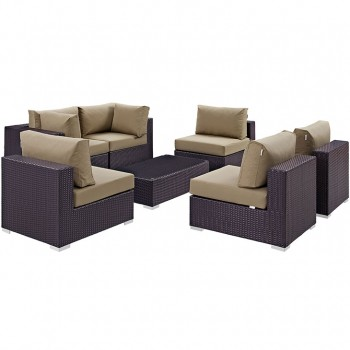 Convene 7 Piece Outdoor Patio Sectional Set, Сomposition 3,Espresso, Mocha by Modway
