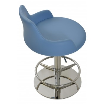 Dervish Piston Stool, Blue Leatherette, Full Foot Rest by SohoConcept Furniture