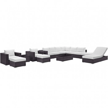 Convene 12 Piece Outdoor Patio Sectional Set, Espresso, White by Modway