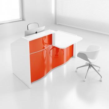 Wave LUV27L Reception Desk, High Gloss Orange