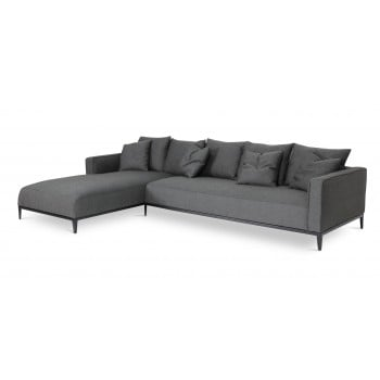 California Sectional, Large, Left Arm Chaise, Black Base, Black Pepper Fabric by SohoConcept Furniture