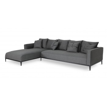 California Sectional, Small, Left Arm Chaise, Black Base, Black Pepper Fabric by SohoConcept Furniture