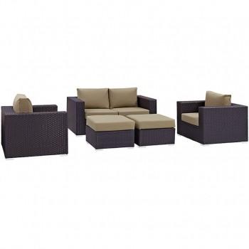 Convene 5 Piece Outdoor Patio Sofa Set, Espresso, Mocha by Modway