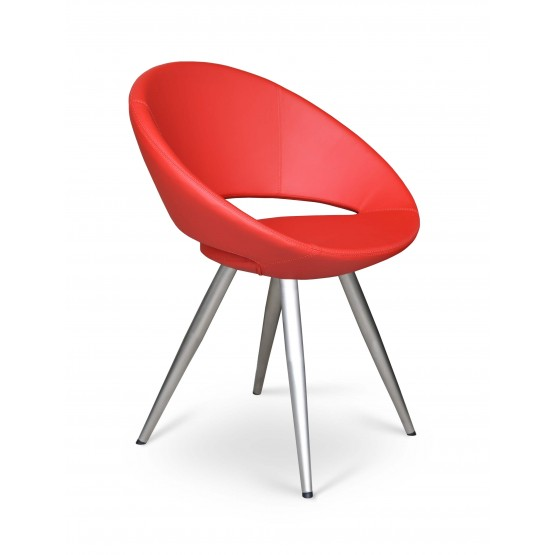 Crescent Star Chair, Stainless Steel, Red PPM, Large Seat photo