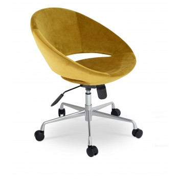 Crescent Office Chair, Base A3, Gold Velvet by SohoConcept Furniture