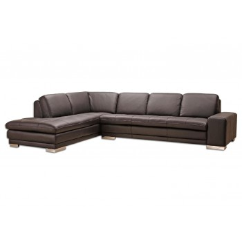 Block Sectional, Left Arm Chaise Facing, Brown