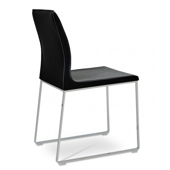 Polo Sled Dining Chair, Chrome, Black Bonded Leather photo