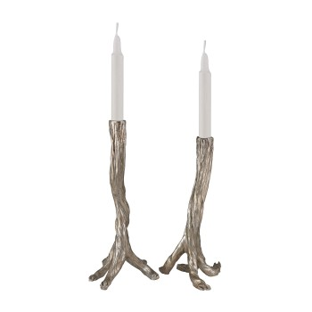 Silver Leafed Branch Candle Holders