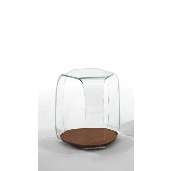 Chakra Side Table, Canaletto Walnut Wood Base, Extra Clear Transparent Glass Top