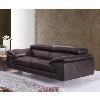A973 Italian Leather Loveseat, Coffee by J&M Furniture