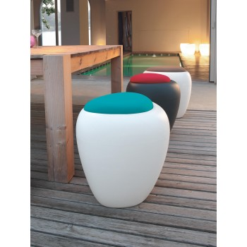 Ios Pouf, White Polyethylene Base, Turquoise Blue Orchidea Fabric