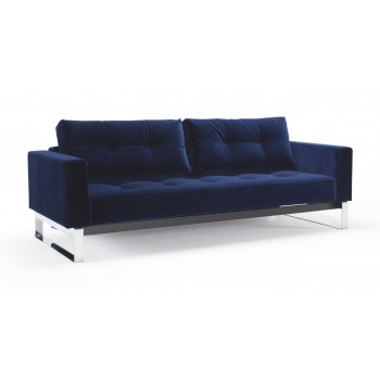 Cassius Quilt Deluxe Full Size Sofa Bed, 865 Vintage Velvet Blue + Chromed Legs