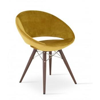 Crescent MW Plus Chair, Walnut Veneer Steel, Gold Velvet, Large Seat by SohoConcept Furniture