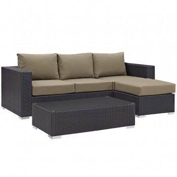 Convene 3 Piece Outdoor Patio Sofa Set, Espresso, Mocha by Modway