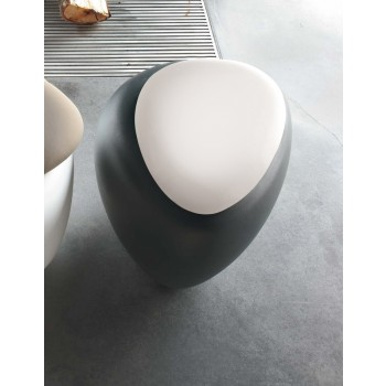 Ios Pouf, Anthracite Polyethylene Base, White Orchidea Fabric