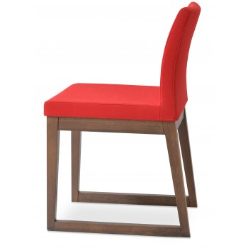 Aria Sled Wood Dininng Chair, Solid Beech Walnut Finish, Red Camira Wool by SohoConcept Furniture