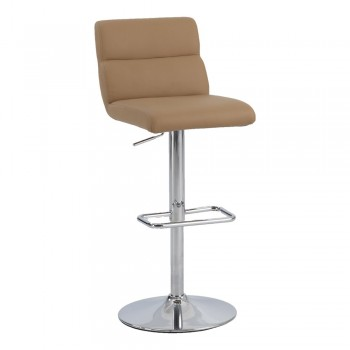 0677 Ribbed Pattern Back Pneumatic Stool, Brown