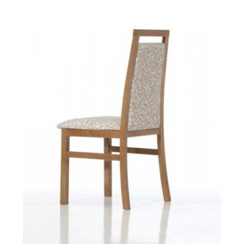Ailin Dining Chair, Brown Base, White + Brown Upholstery
