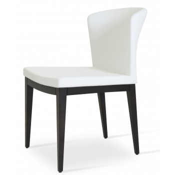 Capri Wood Dininng Chair, Solid Beech Wenge Color, White PPM by SohoConcept Furniture