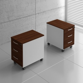 Basic KKT13 Mobile Pedestal w/3 Drawers, White + Lowland Nut