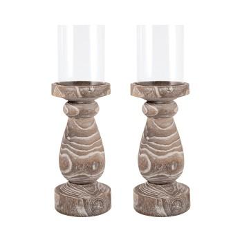 "Timberline Pillar Holder 19"", Set of 2"