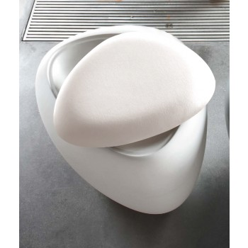 Ios Pouf, White Polyethylene Base, White Orchidea Fabric