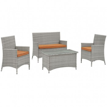 Bridge 4 Piece Outdoor Patio Patio Conversation Set, Light Gray, Orange by Modway