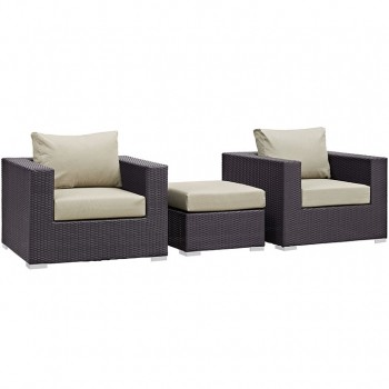 Convene 3 Piece Outdoor Patio Sectional Set, Espresso, Beige by Modway